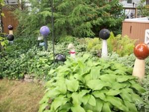 bowling balls in the garden